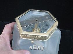 Globe Plafonnier Suspension Art Deco Verre Depoli Epais Monture Bronze Lustre