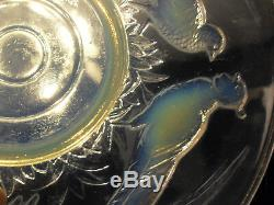 Grand Coupe Verre Moule Opalescent Art Déco Faisans Etling Sabino Verlys Signe
