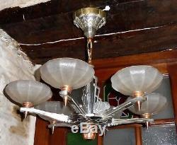 Grand LUSTRE suspension art-déco 6 lumières 1930