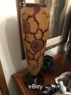 Grand Vase Art Déco Le Verre Français 48 Cm