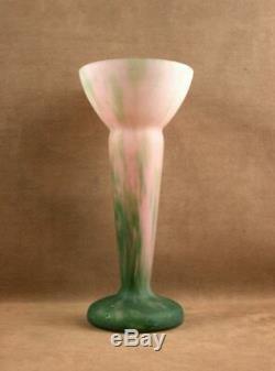 Grand Vase En Pate De Verre Nuagé Signé Lorrain Daum Art Deco Vers 1920