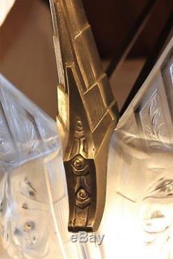 Grand lustre signé Gilles en verre pressé-moulé époque art déco à 9 lumières