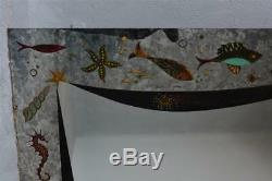Grand miroir panoramique style 1950 verre églomisé signé Artha