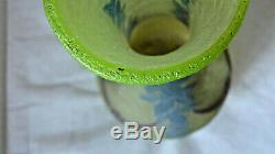 Grand vase Legras 37cm art deco verre gravé à l'acide et émaillé époque 1925