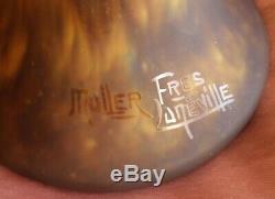 Grand vase balustre en pâte de verre art déco signé MULLER FRÈRES LUNÉVILLE