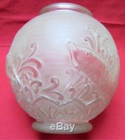 Grand vase en verre moulé pressé LORRAIN à décor de poissons Art Déco 1930