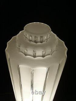 Grande Lampe Building Moderniste Art Déco Bronze Nickelé & Globe En Verre Pressé