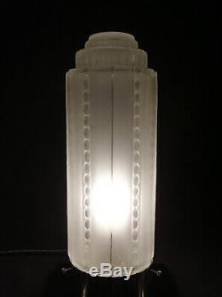 Grande Lampe Building Signee Genet & Michon Art Deco Skyscraper Gratte-ciel 1930