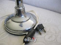 Grande Lampe Pirouett Art Deco Metal Chrome 4 Verres Neufs Tbe