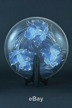 Grande coupe Art Deco Verlys Verre Opalescent modèle aux Iris 1930 Glass opalin