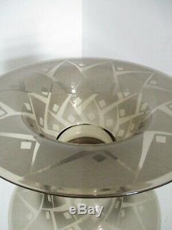 Grande coupe verre ART DÉCO signée Daum Nancy croix de lorraine Gravée acide