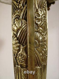 Grande lampe champignon art déco en bronze & vasque signée verre moulé 1925-1930