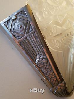Grande paire appliques verre signé NOVERDY bronze ART DECO sconce bracket