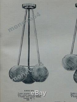 H. Petitot Suspension Art Déco En Bronze Et Globes En Verre Pressé Muller 1930
