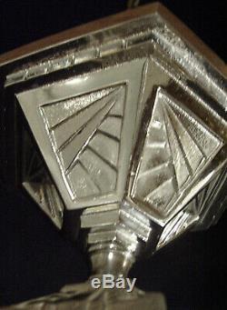 Hanots Lustre Ou Suspension Art Déco En Bronze & Vasque En Verre Pressé 1930