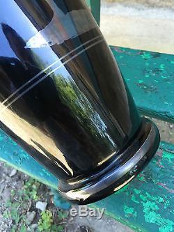 Hem Art Deco 1930 Antique à la Grecque Grand Vase Argenté Verre Cristal
