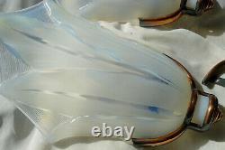 Henri PETITOT Suite de 3 APPLIQUES Verre Opalescent EZAM Design Art Déco