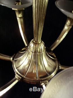 Hettier & Vincent Lustre Art Déco 6 Feux Bronze & Coupelles Muller Frères 1930