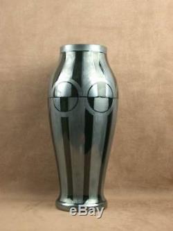 Important Vase Art Deco Verre Noir Decor Geometrique Signe Hem Michel Herman