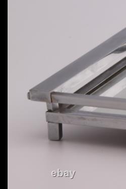 Jacques Adnet plateau de service époque 1930/40 verre et métal chromé Art déco