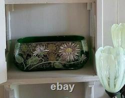 Jardinière verre émaillé Legras art nouveau art déco marguerites ou dahlia