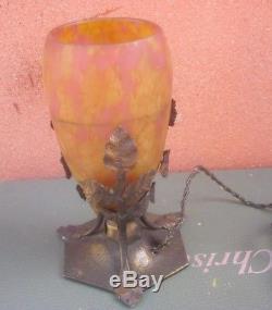 LAMPE VEILLEUSE DAUM NANCY pâte de verre Art Nouveau / Déco
