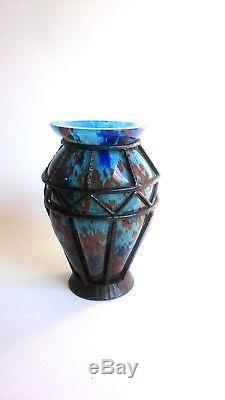 LORRAIN DAUM Vase art deco monture fer forgé et pate de verre