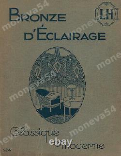 L. Hugue Et Degué Plafonnier Art Déco Bronze Argenté & Globe Verre Pressé 1930