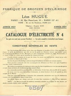 L. Hugue Paire De Lampes Art Déco En Verre Moulé Et Métal Poli 1930