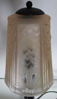 Lampe ART DECO Muller Frères Lunéville pied fer forgé 1930 Tulipe verre pressé