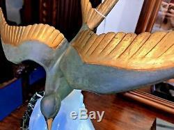 Lampe ART DECO mouette bronze et verre opalescent