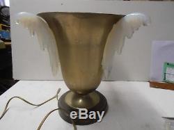 Lampe Art Deco Aluminium Et Verre