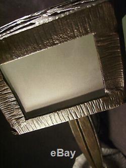 Lampe Art Deco En Fer Forgé Et Verre 1930