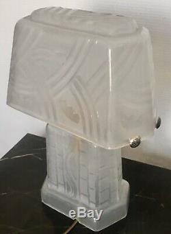 Lampe Art Deco En Verre Moulé dlg Daum 2 Feux