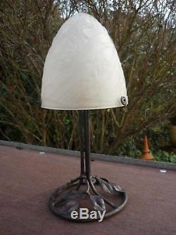 Lampe Art Deco Fer Forge Obu Verre Depoli 1930
