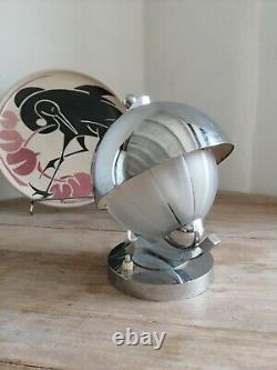 Lampe Art-Déco Moderniste circa 1930 Chrome et Verre Sablé éra Adnet