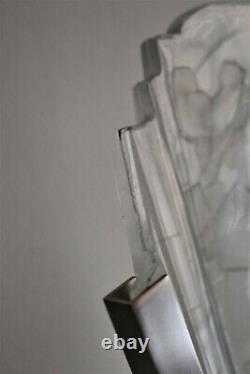 Lampe Art Déco Muller Frères à Lunéville décor aux moineaux
