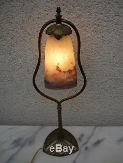 Lampe Art Deco Nouveau Bronze Tulipe Pate De Verre Signee Muller Vers 1925