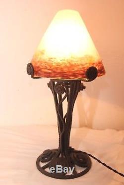 Lampe Art Deco Pate De Verre Degue Fer Forge Lustre