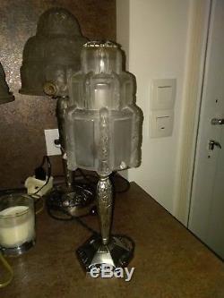 Lampe Art Deco Signee Sabino Epoque Muller Degue Noverdy Verre Moule Schneider