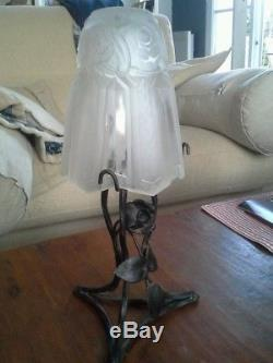 Lampe Art Deco Tulipe Champignon Signee P Maynadier Pied De Lampe Fer Forge Rose