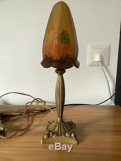 Lampe Art Deco Tulipe Pate De Verre