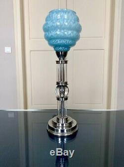 Lampe Art Déco en métal et verre Globe Luminaire Moderniste