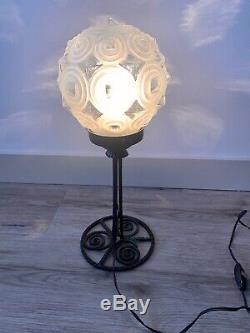 Lampe Boule Champignon En Fer Forge & Pate De Verre Skyscrapper Art Deco 1920