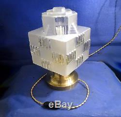 Lampe Building Moderniste Art Deco Skyscraper Gratte Ciel Verre Socle Perzel