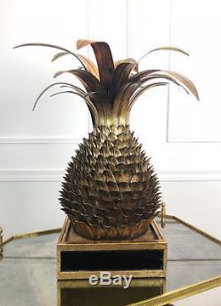 Lampe En Forme D'ananas Dans Le Style Jansen Des Années 70 En Métal Doré