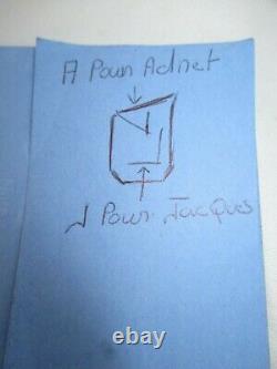 Lampe Jaques Adnet en Opaline Noire Signature monogramme