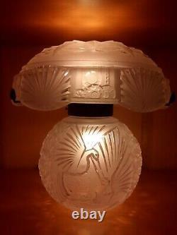 Lampe Muller Freres Art Deco 1930 Verre Presse Grand Modele Aux Paons