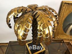 Lampe Palmier De Style Jansen Des Année 70 En Métal Doré De 81 CM De Haut