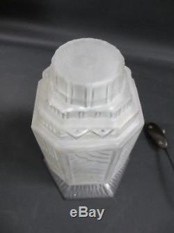 Lampe Veilleuse Art Deco Fer Forgé Globe Tulipe Verre Pressé H